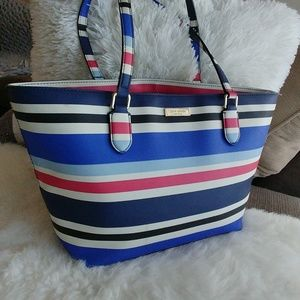 Kate Spade Summer stripe shopper tote bag carryall